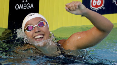 Stiff opposition: Kathleen Baker broke the 100m backstroke world record at the US National titles.