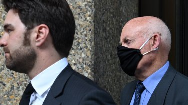 Former NSW minister Ian Macdonald (right) arriving at court with his barrister Jonathan Martin.
