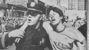 Rosie Ruiz, pictured here being helped by Boston police after crossing the finish line, was busted for cheating in the Boston Marathon in 1980.