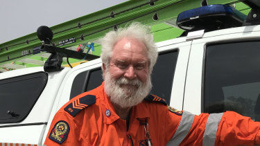 SES volunteer Terry Chapman's job this week is 'feeding and watering' the 200 firies based at Boonah Showgrounds this week.