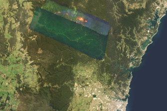 A map of the Gospers Mountain bushfire, burning in the Hawkesbury, north-west of Sydney.
