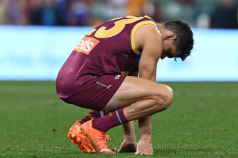 A dejected Charlie Cameron after the final siren.