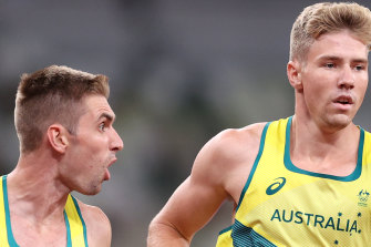 Cedric Dubler giving Ash Moloney the encouragement he needed in the last event of the decathlon.