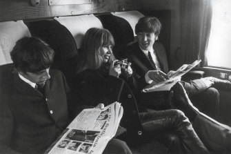 "Astrid Kirchherr, with John Lennon and Ringo Starr during the filming of ""A Hard Day's Night""."