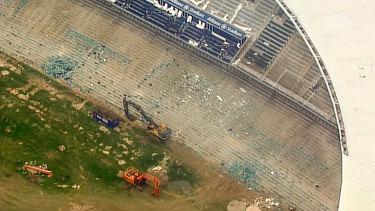 Demolition work inside Allianz Stadium on Thursday.