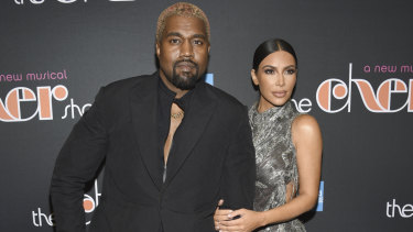 Kanye West and Kim Kardashian West at opening night of The Cher Show in New York on Monday.