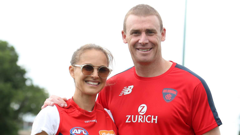 Natalie Portman with the Melbourne Football Club's Simon Goodwin.
