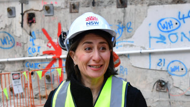 NSW Premier Gladys Berejiklian at the metro site in Martin Place on Wednesday.