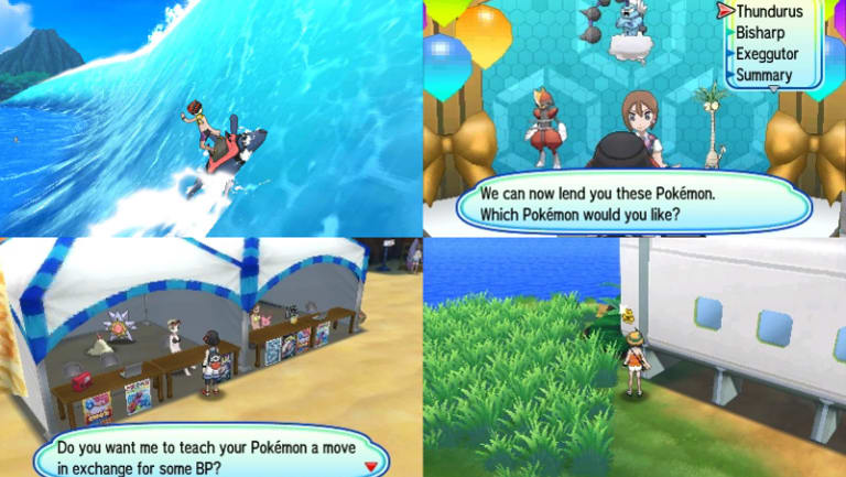 Some of the new features include surfing with Mantine, renting powerful Pokemon, cashing in battle points to learn new moves and collecting stickers.