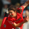 Molly Strano bowls for the Renegades during their semi-final against Brisbane Heat in Brisbane.