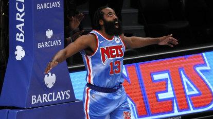 Harden bags triple-double on debut in Nets win, Durant scores 42