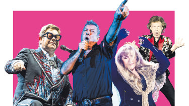 Boomers still booming: (from left) Elton John, Jimmy Barnes, Stevie Nicks and Mick Jagger.