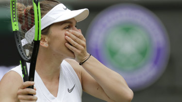 Did that just happen? Simona Halep contemplates the moment.