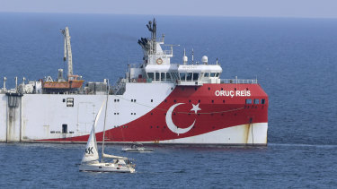 Turkey's research vessel, Oruc Reis anchored off the coast of Antalya on the Mediterranean.