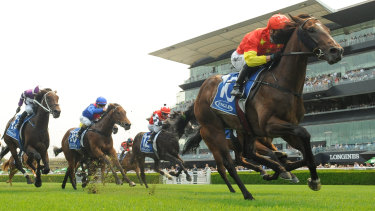 Kerrin McEvoy rides Wild Ruler to victory in the Inglis Nursery  at Randwick Racecourse.