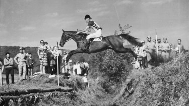 Bill Roycroft on Our Solo competing in the cross country section of the Olympic Equestrian competition.