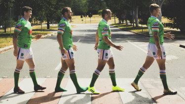 The Canberra Raiders' English quartet doing their best to remodel The Beatles' Abbey Road album cover.