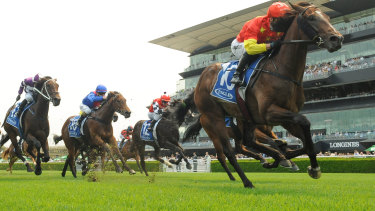 Kerrin McEvoy rides Wild Ruler to victory in the Inglis Nursery  at Randwick.