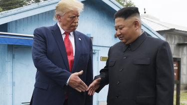 President Donald Trump meets with North Korean leader Kim Jong-un at the border village of Panmunjom in the Demilitarised Zone.