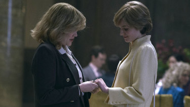 Camilla Parker Bowles (played by Emerald Fennell) and Diana Spencer (Emma Corrin) in a scene from The Crown filmed at Australia House.