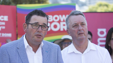State Equality Minister Martin Foley next to Premier Daniel Andrews at the St Kilda Pride March.