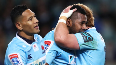 Monster loss: Taqele Naiyaravoro celebrates breaking the Waratahs record for most tries in a season.