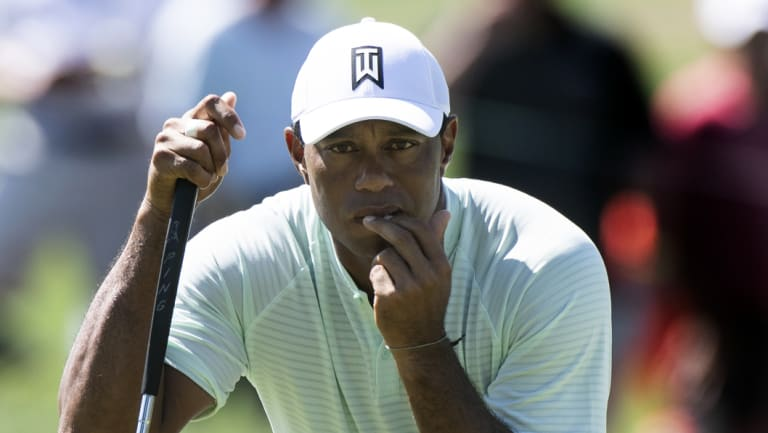 Locked in: Tiger Woods is in a share of the lead after the first round of the BMW Championship.