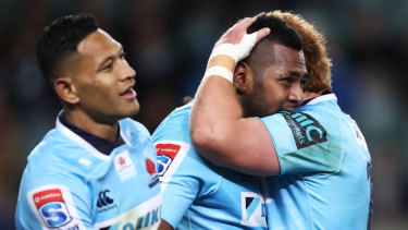 Barnstorming effort: Taqele Naiyaravoro celebrates breaking the Waratahs record for most tries in a season.