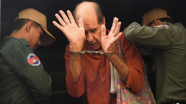 James Ricketson, who is accused of espionage, at the Phnom Penh Municipal Court in June.