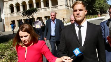 Jack de Belin leaves the court in Wollongong.