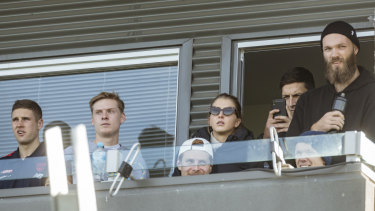 Out in support: Senior Melbourne AFL players in attendance to watch their seconds at Casey Fields.