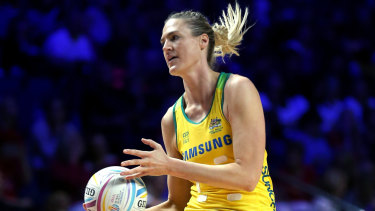 Australia's Caitlin Bassett will play game 100 in Perth on Sunday.