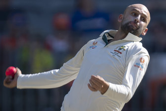Nathan Lyon on day four of the first Test against New Zealand.