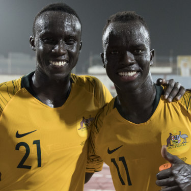 2a6fae24a67 Thomas Deng (left), 21, debuted for the Socceroos alongside childhood  friend Awer