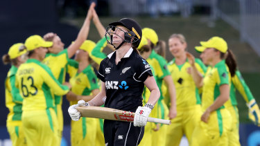 The Australian side celebrates the wicket of New Zealand's Lauren Down during the second match of their one-day international series.