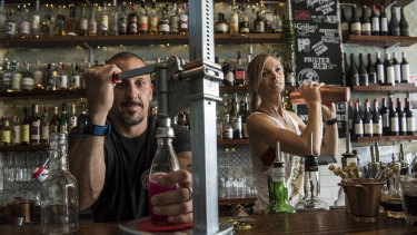 Fabrizio Culici and Tess Robens at The Rio Bar in Summer Hill were ready to begin delivering bottled cocktails last night when they were closed by NSW Police.