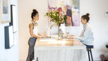 Katia Santilli and Vera Yan in their work from home leisurewear.