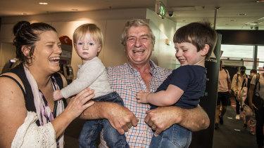 Alan Kinkade reuniting with Tom Kinkade-Jones aged 2 and Daughter Allison Kinkade-Jones and other grandson James Kinkade-Jones aged 14 months.
