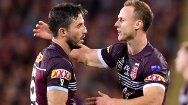 Frenemies: Maroons teammates Ben Hunt and Daly Cherry-Evans clash in the NRL this weekend.