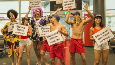 Lifeguards and drag queens greeted the flights from Victoria.