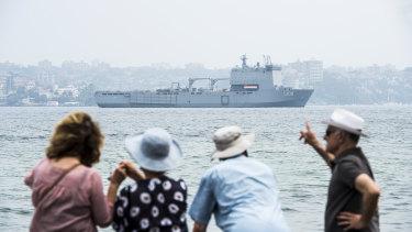 HMAS Choules leaves Sydney for East Gippsland on Wednesday.