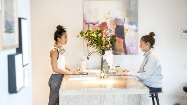 Katia Santilli and Vera Yan in their work from home leisurewear.