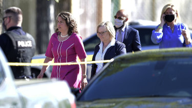 Knoxville Mayor Indya Kincannon, left, arrives at the scene of a shooting at Austin-East High School in Knoxville, Tennessee.