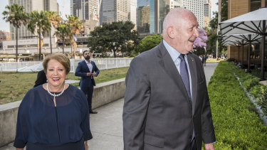 Lady Lynne and Sir Peter Cosgrove arrive at the MCA for Qantas boss Alan Joyce's wedding on Saturday afternoon.