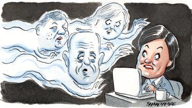 Labor figures Morris Iemma, John Della Bosca and Cherie Burton have criticised party leadership contender Jodi McKay. Illustration: John Shakespeare