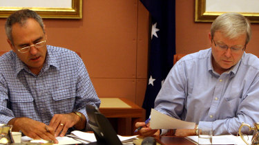 Then Treasury secretary Ken Henry and prime minister Kevin Rudd at a meeting of the strategic priority and budget committee on October 11, 2008.