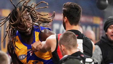 Zach Merrett pulled Nic Naitanui's dreadlocks, with the big Eagle then shoving the Bomber.
