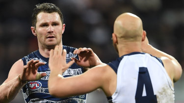 Patrick Dangerfield with a previous Geelong Brownlow medallist Gary Ablett.