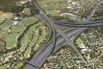 The planned North East Link interchange in Bulleen.