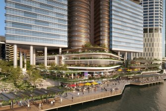 The proposal included 9000 square metres of riverside public open space with shaded terraces and subtropical landscaping.